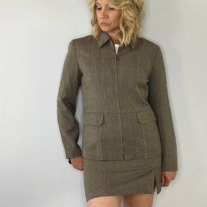 Vintage Ann Taylor herringbone mini skirt suit
